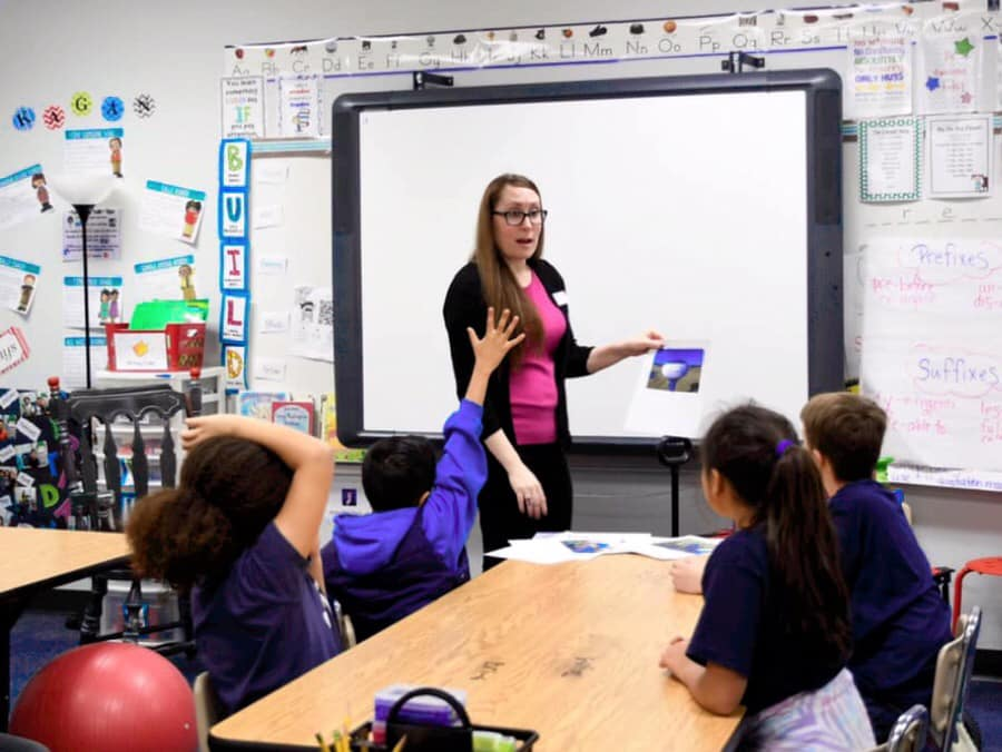 Assistant General Manager Jennifer Bland Visiting Brockett Elementary